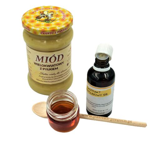 Krople propolisowe i miód z pyłkiem – zestaw mały